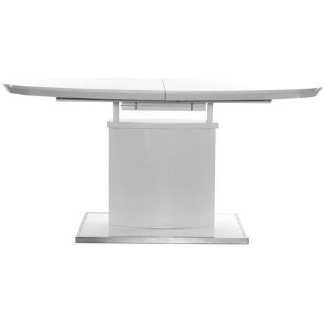 Mesa de comedor diseño extensible blanca L160-200 CLEONES