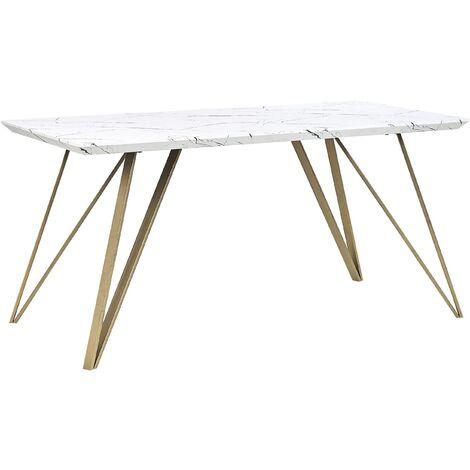 Mesa de comedor efecto mármol/dorado 150x80 cm MOLDEN