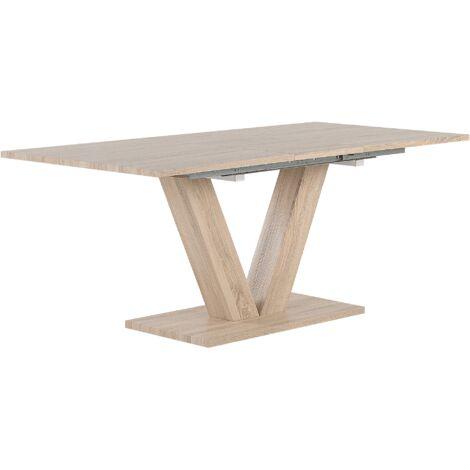 Mesa de comedor en madera clara 140/180x90 cm LIXA