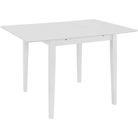 Mesa de comedor extensible blanca (80-120)x80x74 cm MDF