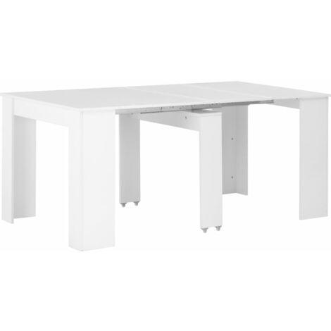 Mesa de comedor extensible blanco brillante 175x90x75 cm