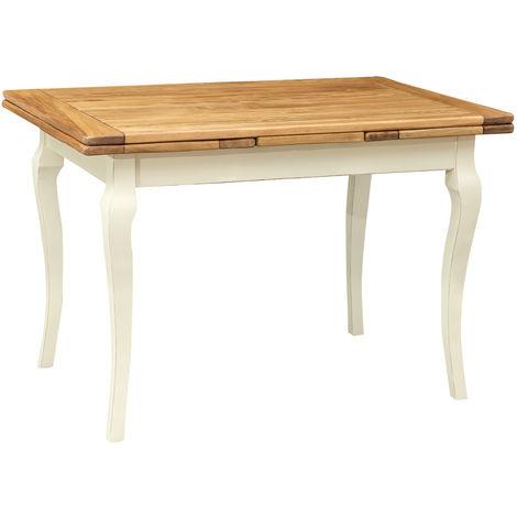 Mesa de comedor extensible de estilo r£stico de madera maciza de tijolo estructura acabado con efecto blanco envejecido