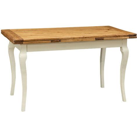 Mesa de comedor extensible de estilo rustico de madera maciza de tijolo estructura acabado con efecto blanco envejecido tabler