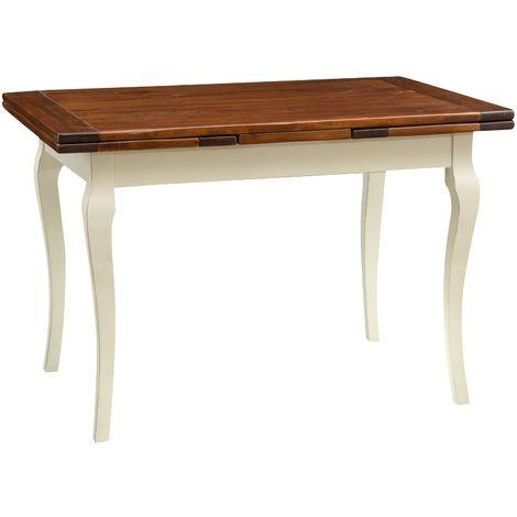 Mesa de comedor extensible de madera maciza de tilo estructura con efecto blanco envejecido tablero de nogal talla