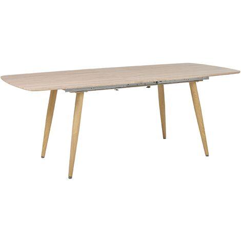 Mesa de comedor extensible madera clara 180/210x90 cm HAGA