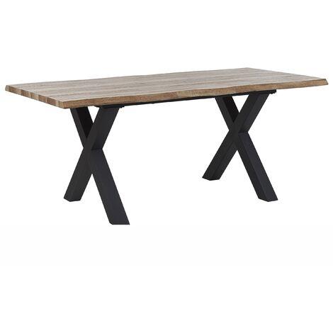 Mesa de comedor extensible madera oscura/negro 140/180x90 cm BRONSON