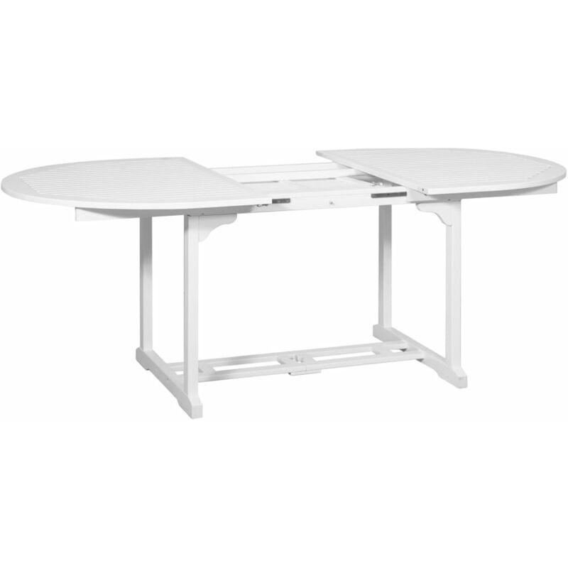 Mesa de comedor extensible para jardín ovalada acacia blanco