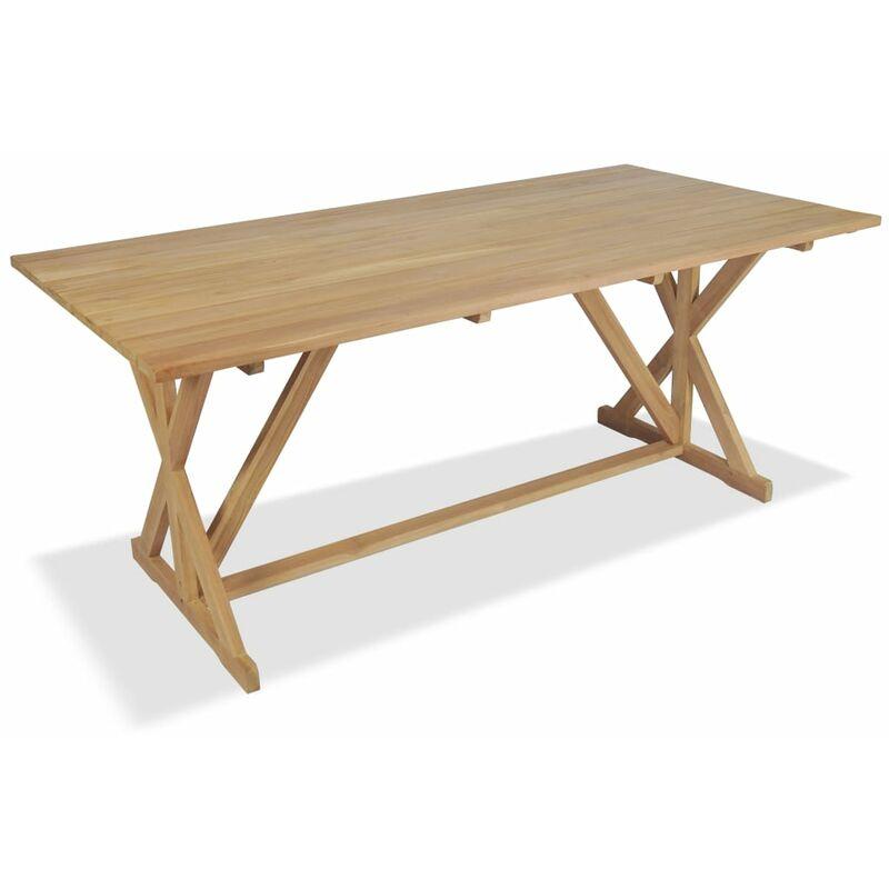 Mesa de comedor exterior de madera de teca maciza 180x90x75 cm