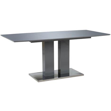 Mesa de comedor gris brillante 180x90x76 cm MDF