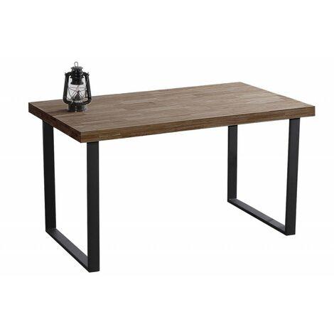 Mesa de Comedor Kove de 140 x 80 de Madera Roble Americano / Metal Negro