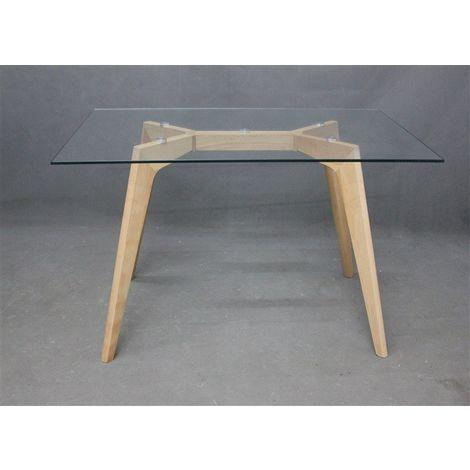 Mesa de Comedor madera, cristal transparente, 120 x 80 cms