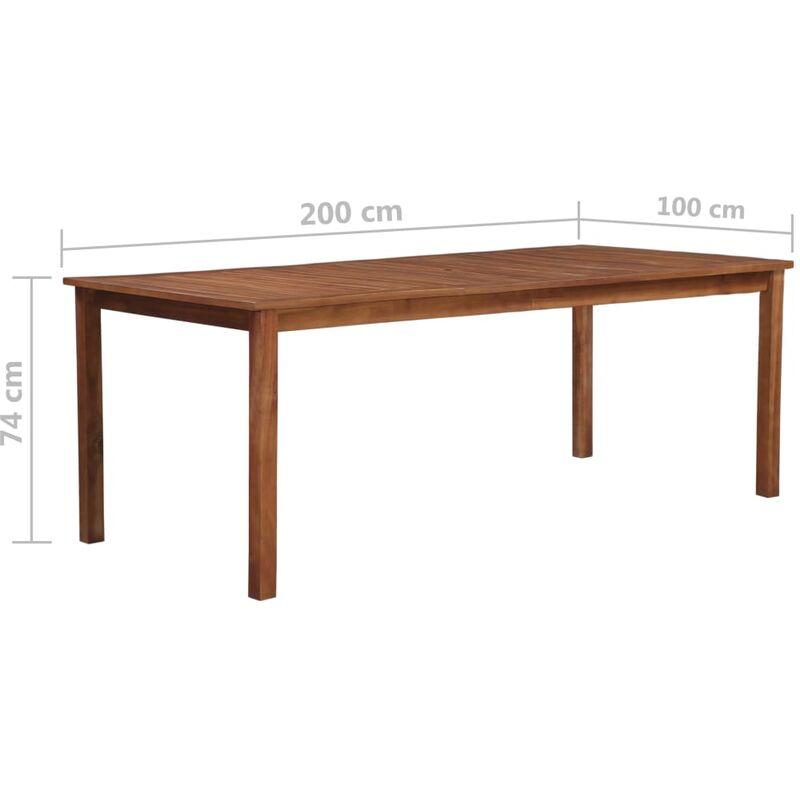 Mesa de comedor madera maciza de acacia 200x90x74 cm -