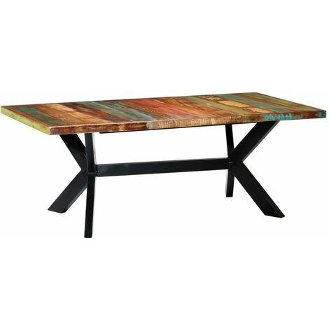Mesa de comedor madera maciza reciclada 200x100x75 cm