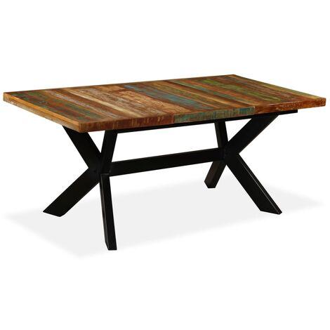 Mesa de comedor madera maciza reciclada y cruz de acero 180 cm