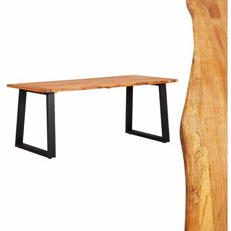 Mesa de comedor madera maciza roble natural 180x90x75cm