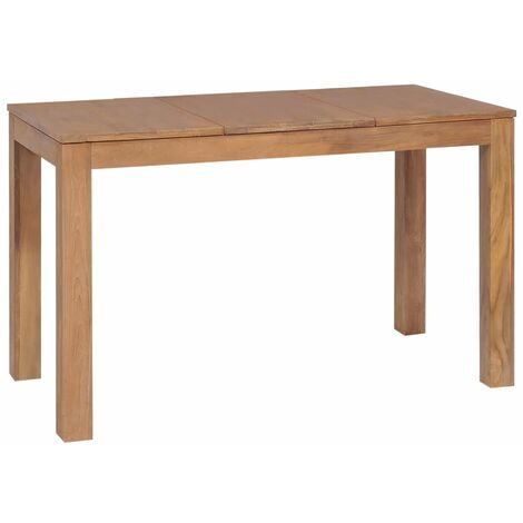 Mesa de comedor madera teca maciza acabado natural 120x60x76 cm