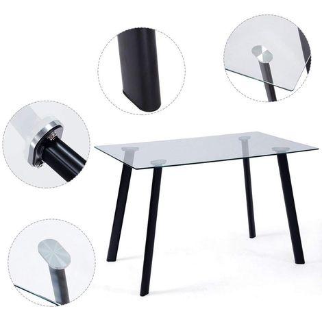 Mesa de Comedor metal, negra, cristal transparente, 120 x 80 cms