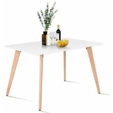 Mesa De Comedor Moderna,Rectangular - Blanco,110*70*72cm