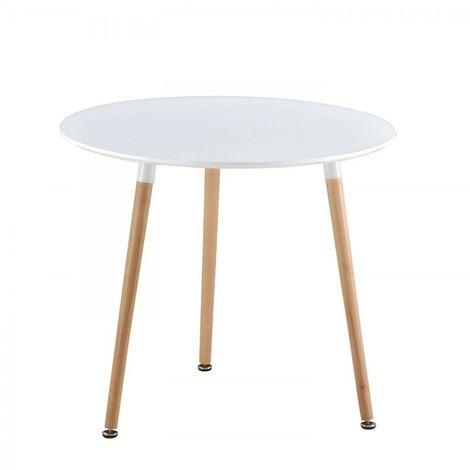 Mesa de comedor nordica blanca - patas de madera IMS