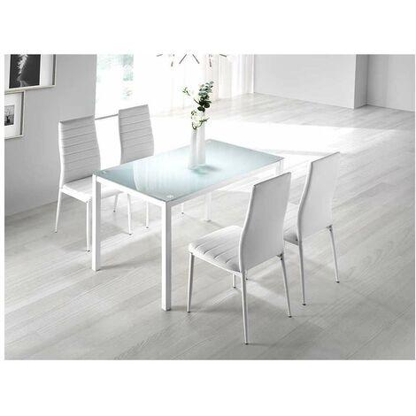 Mesa de comedor Nuria cristal en acabado blanco 75 cm(alto)110 cm(ancho)70 cm(largo) Color Blanco