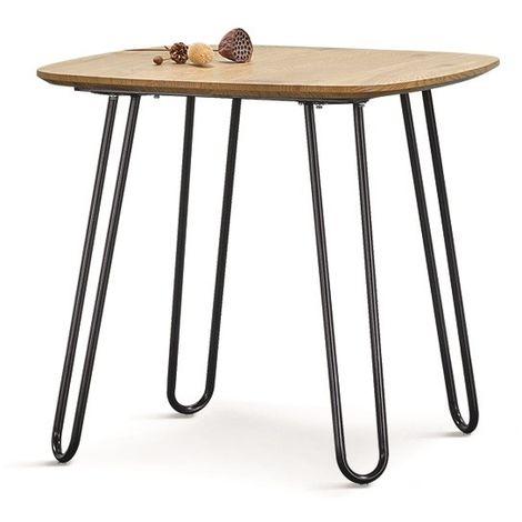 Mesa de comedor o cocina Roma, metal, tapa de DM acabado natural, 80x80 cms