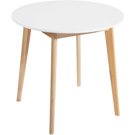 Mesa de Comedor redonda de 80 cm, diseño Moderno Retro con Patas de Madera, Color Blanco