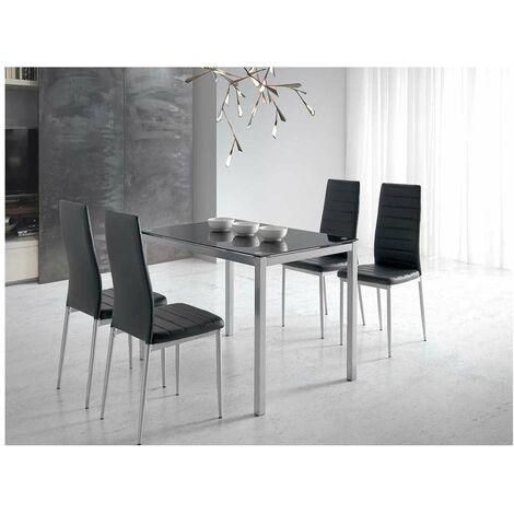 Mesa de comedor silvia cristal en acabado negro 75 cm(alto)110 cm(ancho)70 cm(largo) Color Negro