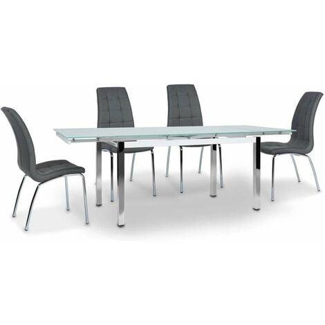 Mesa de cristal extensible modelo Duero. 140-220 cm(ancho) 75 cm(altura) 90 cm(fondo) Color Blanco