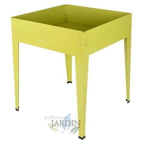 Mesa de cultivo metálica cuadrada 60 x 60 x 82 cm amarilla