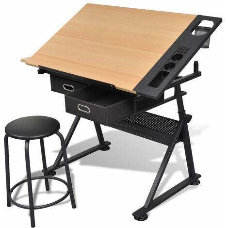 Mesa de dibujo inclinable con 2 cajones y taburete
