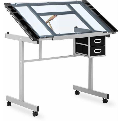 Mesa De Dibujo Profesional Con Ángulo Regulables Placa En Vidrio 104x60cm