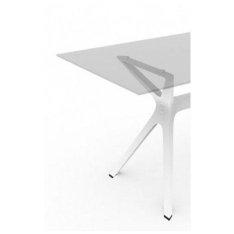 Mesa de diseñador con cristal o fenólico VELA Resol mho1032051-DESKandSIT-70x70cm 70x70cm Blanco CRISTAL