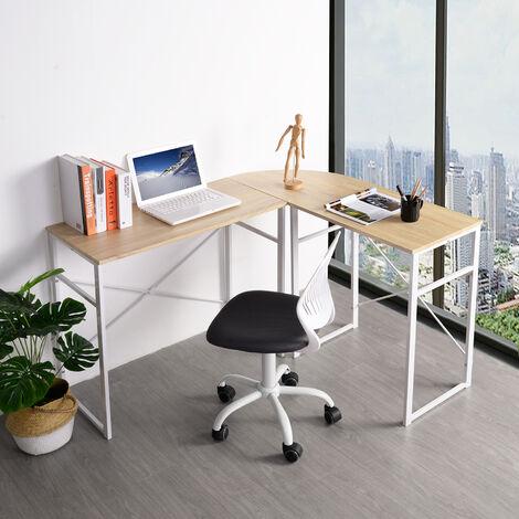 Mesa de Escritorio en Esquina Escritorio en ángulo Computadora Escritorio en la Oficina Encimera de Trabajo de Madera y Acero, 83x40x72,5 y 63x40x72,5cm (WxDxH), Madera, Roble