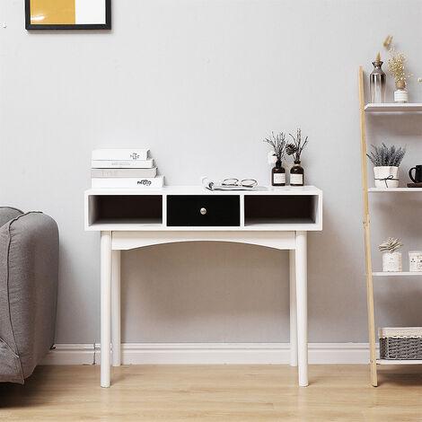 Mesa de escritorio|Mesa de ordenador con 3 cajónes |mesa de oficina |Patas de madera MDF 90x39.5x75cm
