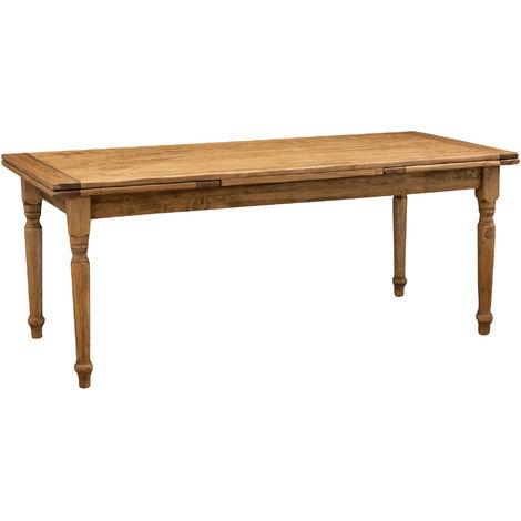 Mesa de estilo Country extensible de madera maciza de tilo acabado con efecto natural 200x90 x80 cm