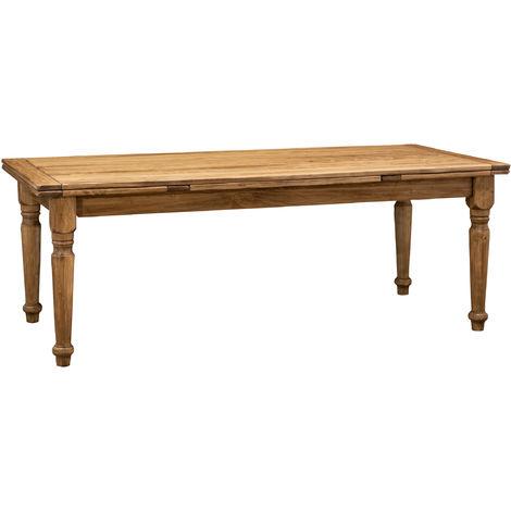 Mesa de estilo Country extensible de madera maciza de tilo acabado con efecto natural 220x100x80cm