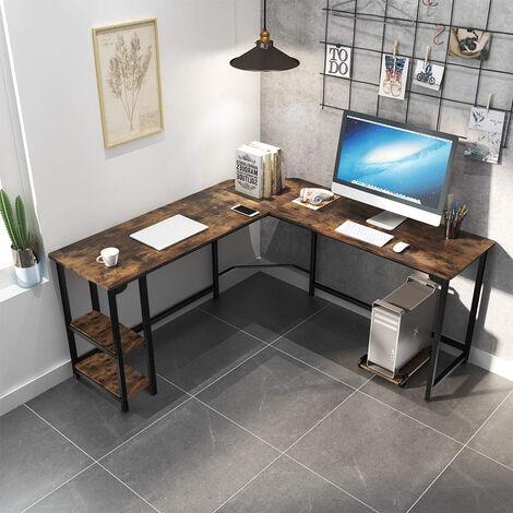 Mesa de estudio de oficina angular 148x148 diseño industrial metal 2 baldas Southport