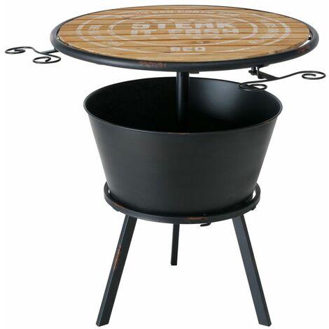 Mesa de hierro jardín muebles de jardín mesa auxiliar madera mesa de jardín hierro, enfriador de bebidas inscripción blanca, Al 65 cm