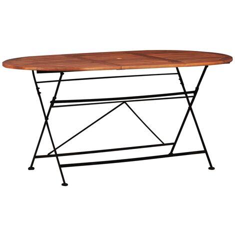 Mesa de jardín 160x85x74 cm madera maciza de acacia ovalada