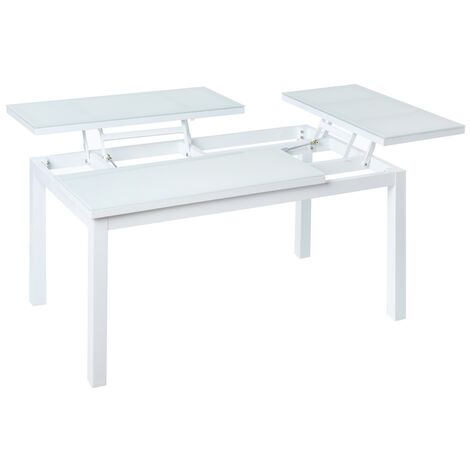 Mesa de jardín abatible de 2 bandejas de aluminio blanco de100x64x48 cm