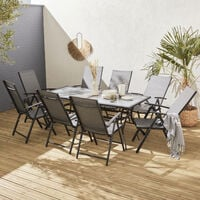 Mesa de jardin, Aluminio, Antracita, 8 plazas   Naevia