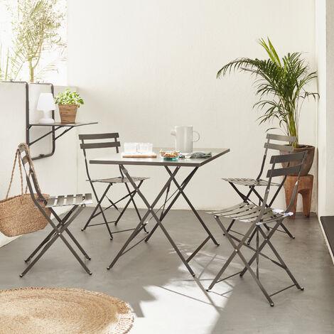Mesa de jardín bistro plegable de metal - Emilia 110