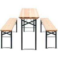 Mesa de jardín con 2 bancos madera de pino 177 cm