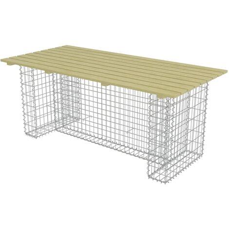 Mesa de jardín con gaviones acero y madera pino 180x90x74cm