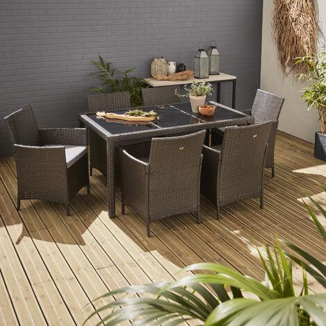 Mesa de jardin, Conjunto exterior, Negro, 6 plazas, Resina trenzada | Tavola 6