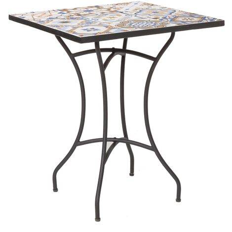 Mesa de jardín cuadrada con mosaico de hierro azul de 60x60x72 cm