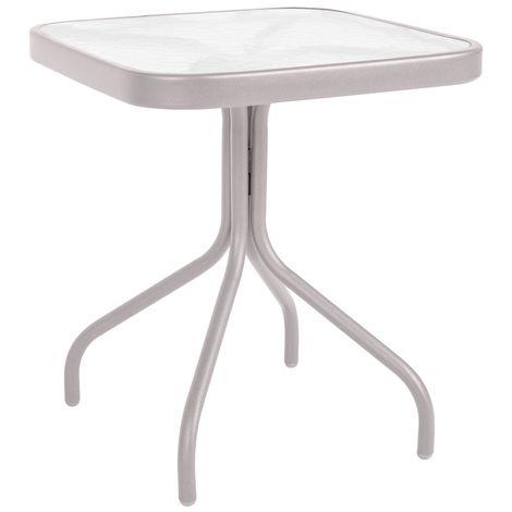 Mesa de jardín de acero gris de 43x42x42 cm