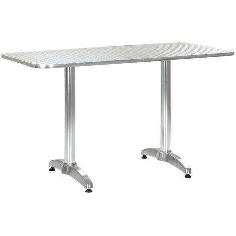 Mesa de jardin de aluminio plateado 120x60x70 cm