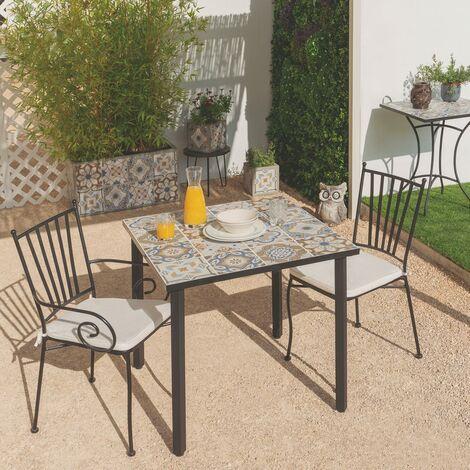 Mesa de jardín de comedor cuadrada de hierro azul de 80x80x75 cm