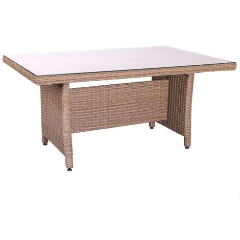 Mesa de jardín de comedor de rattán marrón de 75x100x160 cm